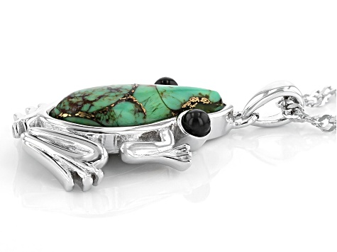 Green Turquoise Rhodium Over Sterling Silver Frog Pendant With Chain .17ctw