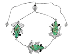 Green Turquoise Sterling Silver Sliding Adjustable Frog Bracelet