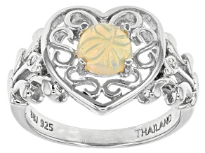 Ethiopian Floral Hand Carved Opal Sterling Silver Ring .56ctw