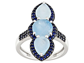 Blue Aquamarine Sterling Silver Ring 4.21ctw