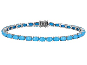 Blue Sleeping Beauty Turquoise Sterling Silver Tennis Bracelet