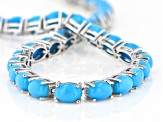 Blue Sleeping Beauty Turquoise Rhodium Over Sterling Silver Tennis Bracelet