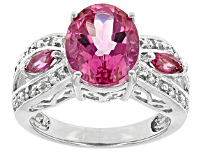 Pink Topaz Sterling Silver Ring 4.12ctw