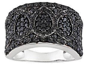 Black Spinel Sterling Silver Band Ring 1.53ctw