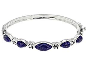Blue Lapis Lazuli Sterling Silver Hinged Bangle Bracelet