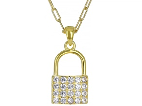 White Cubic Zirconia 18K Yellow Gold Over Sterling Silver Lock Pendant With Chain 1.30ctw