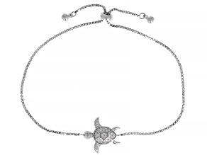 White Cubic Zirconia Rhodium Over Sterling Silver Adjustable Turtle Bracelet 0.28ctw