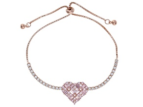 Pink And White Cubic Zirconia 18K Rose Gold Over Sterling Silver Heart Adjustable Bracelet 3.71ctw