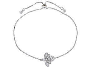 White Cubic Zirconia Rhodium Over Sterling Silver Adjustable Bee Bracelet 0.53ctw