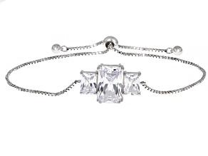 White Cubic Zirconia Rhodium Over Sterling Silver Adjustable Bracelet 8.67ctw