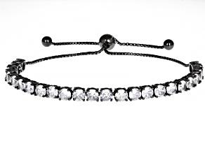 White Cubic Zirconia Black Rhodium Over Sterling Silver Adjustable Bracelet 9.72ctw