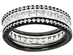 White Cubic Zirconia Rhodium And Black Rhodium Over Silver Band Rings Set Of 3 2.94ctw