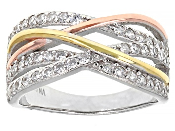 Picture of White Cubic Zirconia Rhodium And 14K Yellow And Rose Gold Over Sterling Silver Ring 1.04ctw