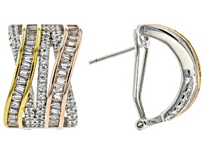 White Cubic Zirconia Rhodium And 14K Yellow And Rose Gold Over Sterling Silver Earrings 3.75ctw