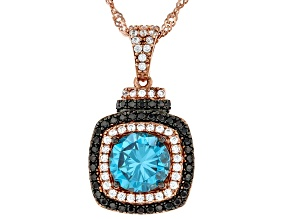 Blue, White, And Mocha Cubic Zirconia 18K Rose Gold Over Sterling Silver Pendant With Chain 3.65ctw
