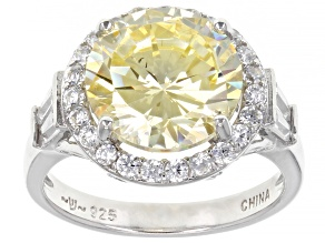 Yellow And White Cubic Zirconia Rhodium Over Sterling Silver Ring 7.29ctw