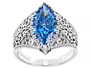 Blue Cubic Zirconia Rhodium Over Sterling Silver Ring 5.81ctw