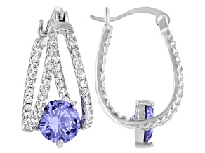 Blue And White Cubic Zirconia Rhodium Over Sterling Silver Earrings 5.71ctw