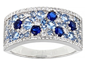 Lab Created Blue Spinel And White Cubic Zirconia Rhodium Over Sterling Silver Ring 2.88ctw