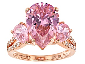 Pink And White Cubic Zirconia 18K Rose Gold Over Sterling Silver Ring 10.42ctw