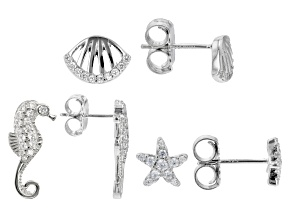 White Cubic Zirconia Rhodium Over Sterling Silver Nautical Earring Set 1.31ctw