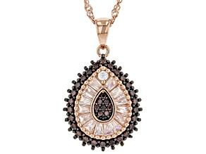 Mocha And White Cubic Zirconia 18K Rose Gold Over Sterling Silver Pendant With Chain 1.96ctw