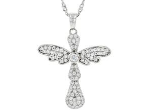 White Cubic Zirconia Rhodium Over Sterling Silver Cross Pendant With Chain 1.08ctw