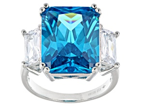 Blue And White Cubic Zirconia Rhodium Over Sterling Silver Ring 20.76ctw