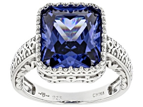 Blue Cubic Zirconia Rhodium Over Sterling Silver Ring 9.27ctw