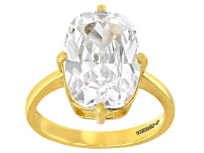 White Cubic Zirconia 18K Yellow Gold Over Sterling Silver Ring 9.51ctw