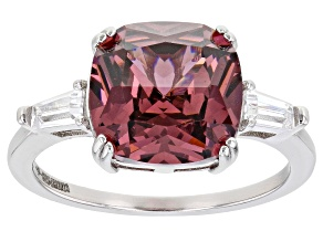 Blush And White Cubic Zirconia Rhodium Over Sterling Silver Ring 6.25ctw