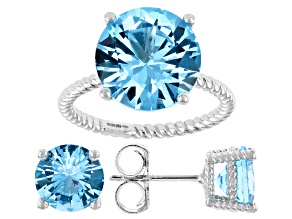 Blue Cubic Zirconia Rhodium Over Sterling Silver Ring And Earrings 16.27ctw