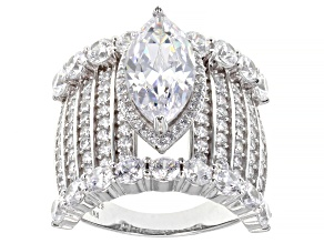 White Cubic Zirconia Rhodium Over Sterling Silver Ring 9.18ctw