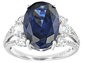 Blue And White Cubic Zirconia Rhodium Over Sterling Silver Ring 10.09ctw