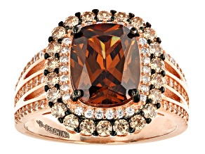 Mocha, Champagne, And White Cubic Zirconia 18K Rose Gold Over Sterling Silver Ring 5.71ctw