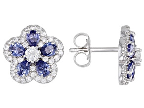 Blue And White Cubic Zirconia Rhodium Over Sterling Silver Flower Earrings 2.98ctw