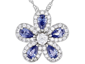 Blue And White Cubic Zirconia Rhodium Over Sterling Silver Flower Pendant With Chain 2.27ctw