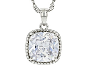 White Cubic Zirconia Rhodium Over Sterling Silver Pendant With Chain 6.08ctw