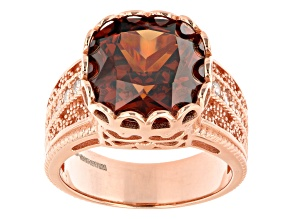 Mocha And White Cubic Zirconia 18K Rose Gold Over Sterling Silver Ring 10.85ctw