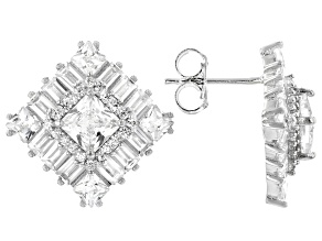 White Cubic Zirconia Rhodium Over Sterling Silver Earrings 7.62ctw