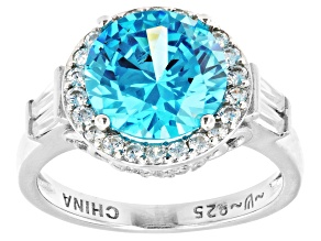 Blue And White Cubic Zirconia Platinum Over Sterling Silver Ring 7.29ctw