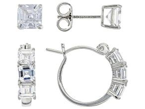 White Cubic Zirconia Rhodium Over Sterling Silver Asscher Cut Earrings Set 4.30ctw