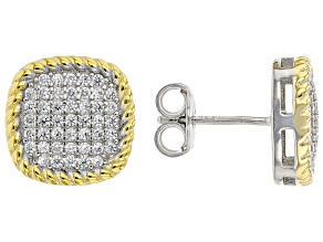 White Cubic Zirconia Rhodium And 14K Yellow Gold Over Sterling Silver Earrings 0.81ctw