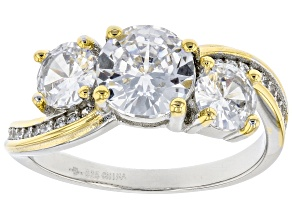 White Cubic Zirconia Rhodium And 14K Yellow Gold Over Sterling Silver Ring 3.48ctw