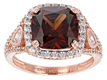 Picture of Mocha And White Cubic Zirconia 18K Rose Gold Over Sterling Silver Ring 7.82ctw