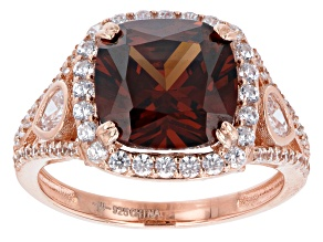 Mocha And White Cubic Zirconia 18K Rose Gold Over Sterling Silver Ring 7.82ctw