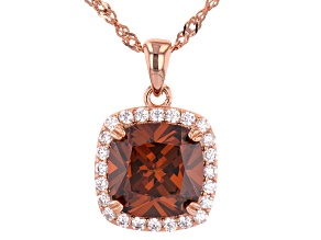 Mocha And White Cubic Zirconia 18K Rose Gold Over Sterling Silver Pendant With Chain 6.66ctw