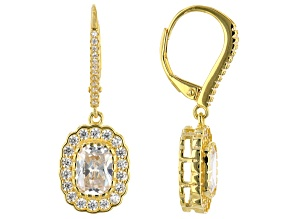 White Cubic Zirconia 18K Yellow Gold Over Sterling Silver Earrings 7.05ctw