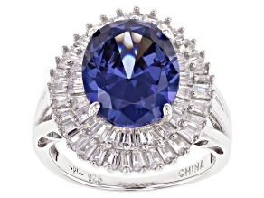 Blue And White Cubic Zirconia Rhodium Over Sterling Silver Ring 7.39ctw