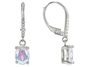 Aurora Borealis And White Cubic Zirconia Rhodium Over Sterling Silver Earrings 3.78ctw